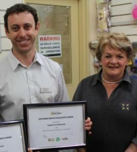 Andrew Johnson of South Pharmacy was presented with a certificate of excellence for his commitment to customer service by Chamber President Ann Rogers.